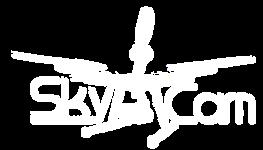 Logo Sky Cam - dron z podwieszoną kamerą (całość biała)