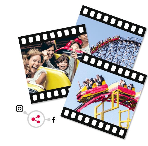 Grafika przedstawiająca fragmenty taśmy filmowej oraz ikonę udostęniania do serwisu Instagram oraz Facebook